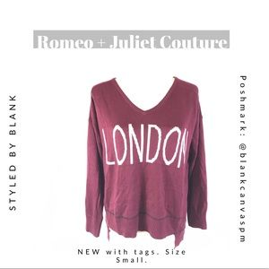 Romeo + Juliet Couture 'London' Jumper Sweater NEW